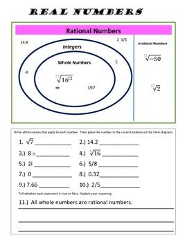Printables Classifying Real Numbers Worksheet integers and numbers on pinterest a great review practice for understanding classifying into real irrational