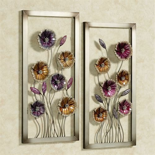 Charming Floral Wall Art Multi Jewel Set Of Two Floral Metal Wall Art Flower Wall Art Framed Wall Art Sets