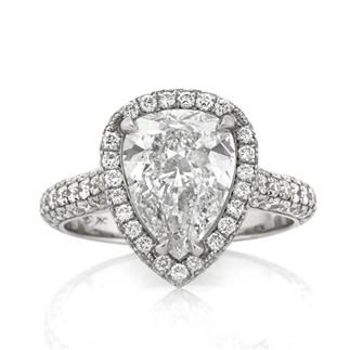 3.90ct Pear Shaped Diamond Engagement Anniversary Ring available at MarkBroumand.com!