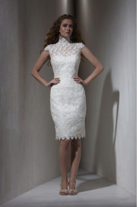 Unique High Neck Satin Overlay Lace Cap Style White Knee Length For Brides Short Wedding Pinterest