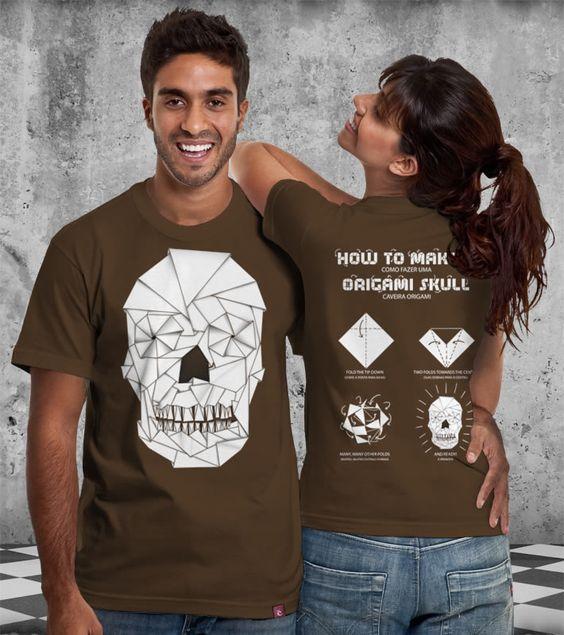Estampa 'Origami Skull' no Camiseteria.com. Autoria de Sândalo Barbosa http://cami.st/d/57088