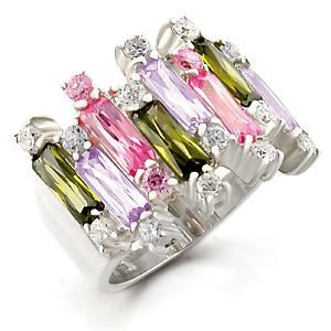 Multi Color Cubic Zirconia High Polish Sterling Silver Ring