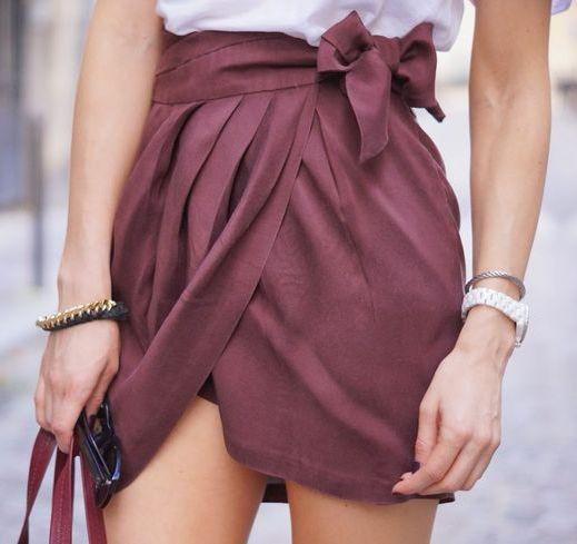 street style burgundy wrap skirt