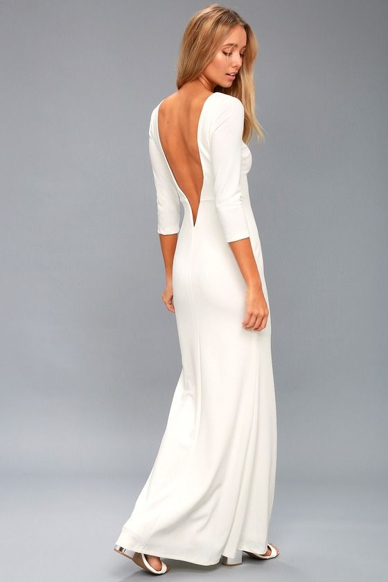 11+ Long white backless dress ideas