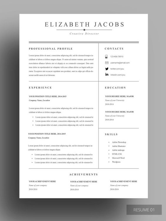 Resume Template, Cv Template, Professional Resume Template, Resume