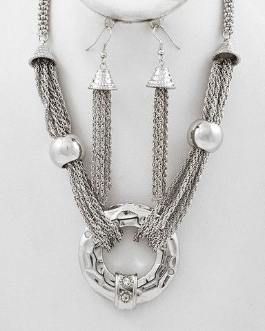 Classic Silver Tone / Lead&nickel / Multi Thin Chains with Circle Drop mcn239646