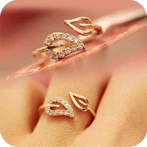 Moda de nova Chegada 1 pcs Duas Folhas Imitação De Diamante Anéis Casal de Coreanos Do Sexo Feminino Moda Vintage Jóias Anillos frete grátis