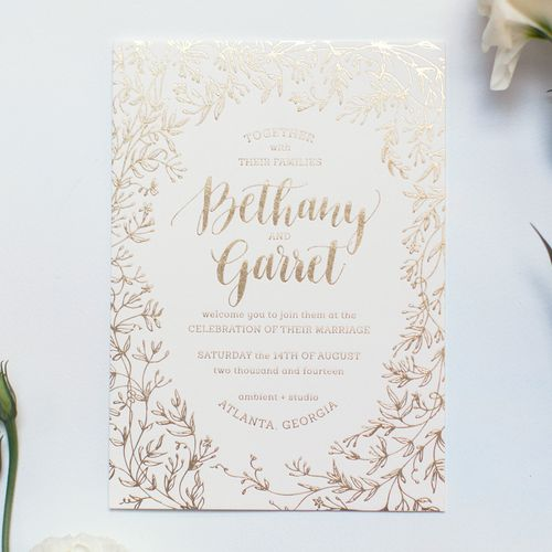 Jasmine wedding invitation - gold foil and floral design, calligraphy by Ashley Buzzy Lettering and Press