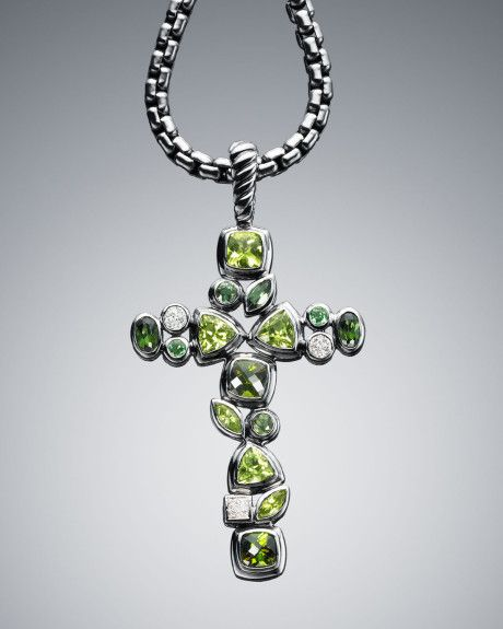 David Yurman Green Confetti Cross Pendant in Silver -