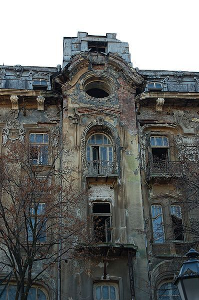 And old and abandoned hotel in the center of Odessa