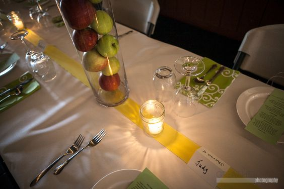 Love this tablescape! Tall cylinders filled with fruit!   Button's Creperie hosts first annual Farm to Table event at the Trenton Farmers Market. © Great Heights Photo