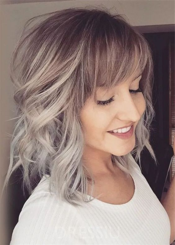 Amazing Ombre Hairstyle Inspirations For Medium Length Hair Hair Color Trends Short Hair With Bangs Hairstyles With Bangs Medium Hair Styles