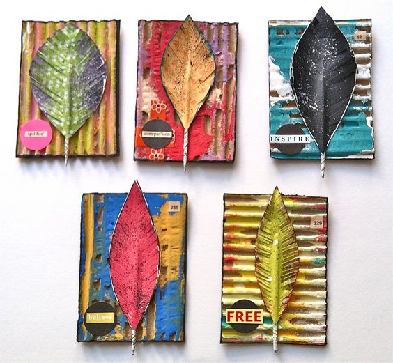 Altered Corrugated Cardboard- ATC's | April Cole's Studio - One artist. One Story. One brush stroke at a time.