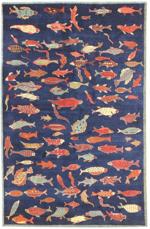 Fish Design Hand Knotted Wool Blue Red Indoor Area Rug Fish