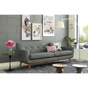 Tov Furniture Lyon Smoke Grey Leather Sofa