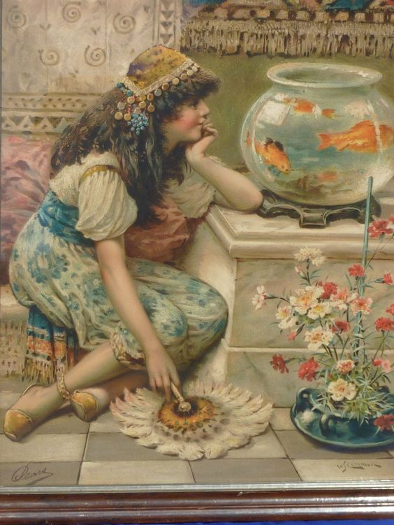 William Stephen Coleman (1829- 1904) vintage chromolithograph print of a young girl and Goldfish www.rubylane.com Ruby Lane