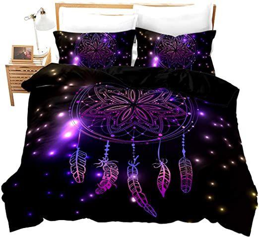 Loussiesd Dream Catcher Bedding Set Duvet Cover Set Black With Purple Mandala Dream Catcher Starlight 3d Pr Duvet Cover Sets Mandala Bedding Duvet Bedding Sets
