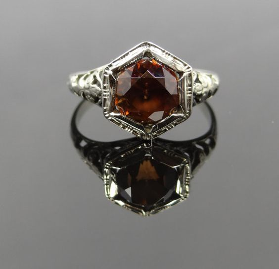 Beautiful Art Deco Filigree Octagon Mounting with Brown Zircon Ring