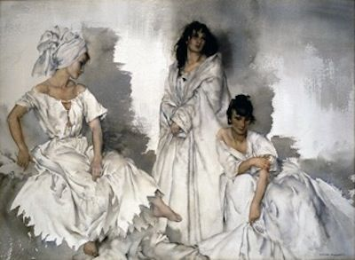 "Sir William Russell Flint watercolor.  ""Caprice in White: Two Idlers and a Saint"""