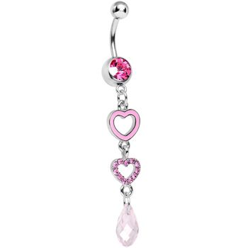 Pink Gem Crystal Love Multiplied Double Heart Dangle Belly Ring | Body Candy Body Jewelry