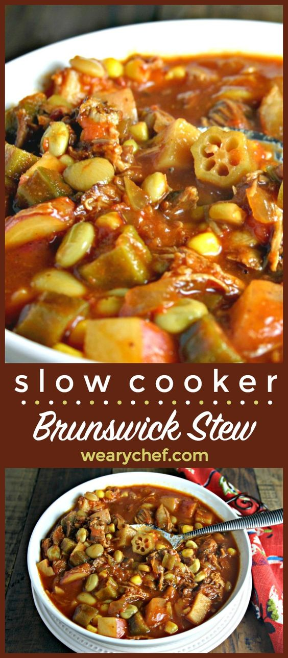 This Easy Brunswick stew is made right in your slow cooker! You can make it with chicken or pork (or both)! It's a perfect dinner recipe to warm up with.
