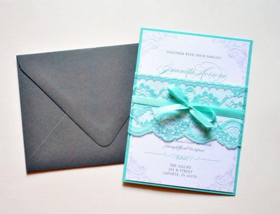 Tiffany Blue Lace Wedding Invitations, Tiffany Blue and Grey Wedding Invitations by Whimsy B. Paperie $6.95