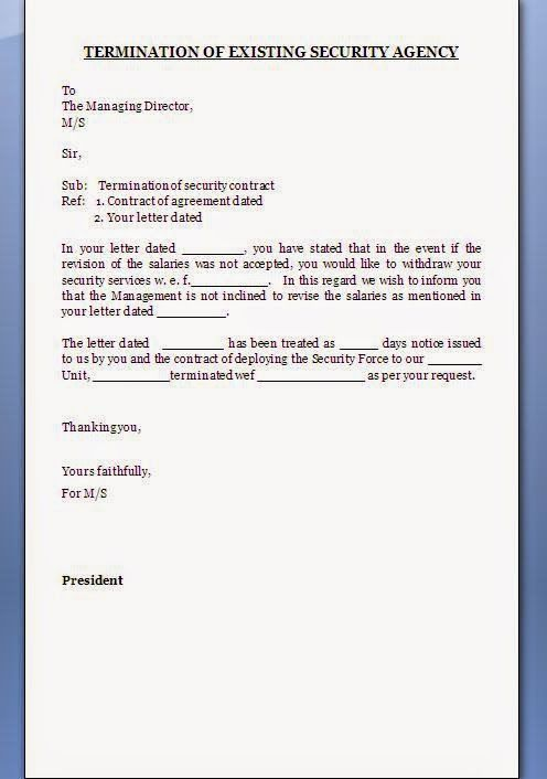 contract termination letter format word doc pdf free download - letter of termination