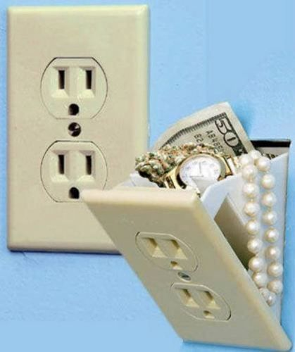 """Hidden Wall Safe $4.99 at Bed Bath & Beyond stores    It looks like an ordinary wall socket, but it's actually a mini wall safe. The compartment behind the socket is the perfect place to keep money, jewelry and other valuables. Easy to install. Measures 7 3/4"""" L x 3 1/2"""" W x 2 3/4"""" D. One-year limited warranty."""