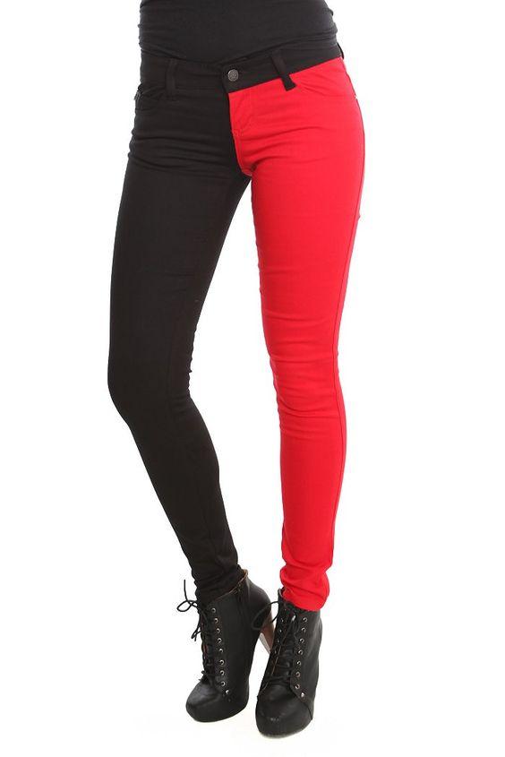 Tripp Black Red Split Leg Skinny Jeans (Demin Bogo 50%) $34.50 ...