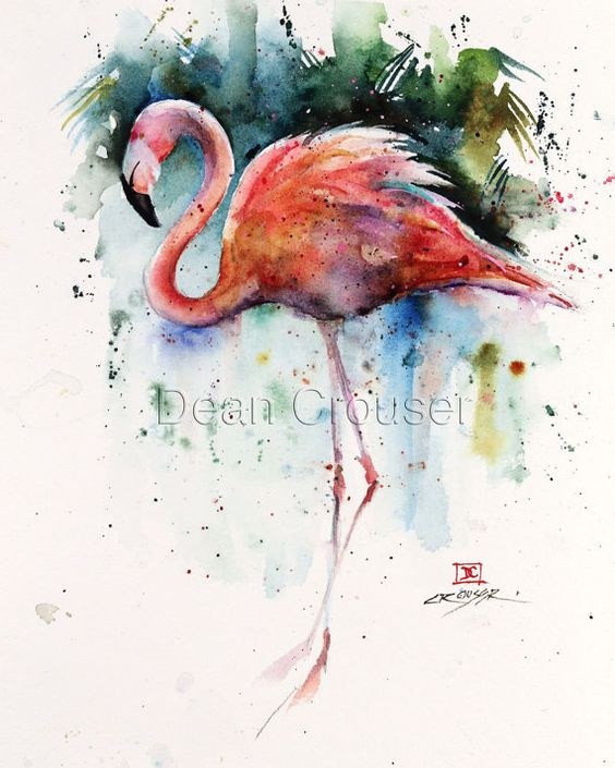 FLAMINGO limited edition watercolor print from an original painting by Dean Crouser.  This print is available in a variety of sizes from 8 x 10 up