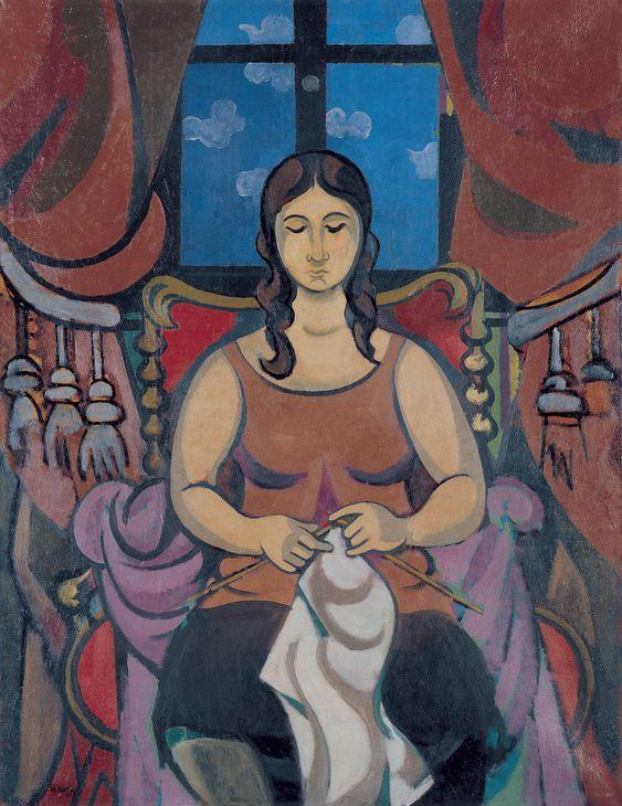 Nurullah Berk, (1906-1982) Woman Knitting, 1981    Oil on canvas  116 x 89 cm.  İstanbul Modern Collection /  Boyner Holding Donation