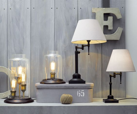 Beacon lighting bentley 1 light small adjustable table lamp in back with off white shade