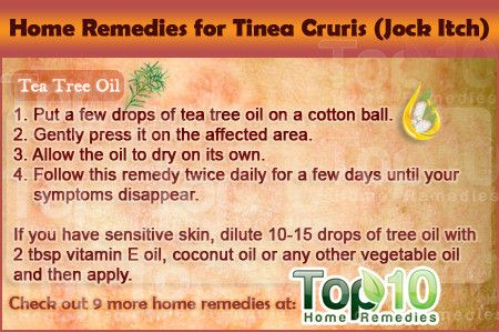 Home Remedies for Tinea Cruris (commonly referred to as jock itch - fungi that like to grow on skin that's moist and warm)