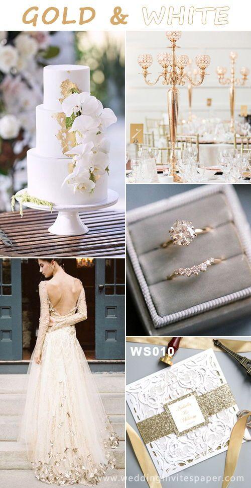 Fabulous Gold White Wedding Ideas Gold Wedding Colors Gold Color Palettes Romantic Theme Wedding