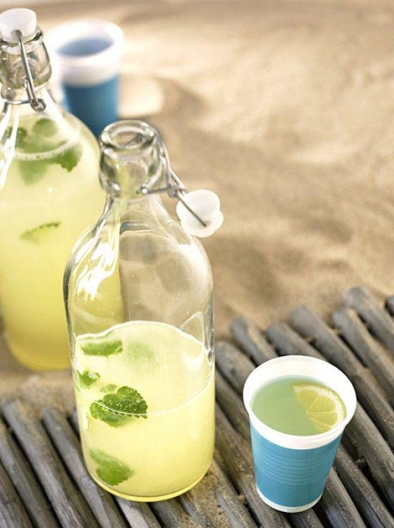 Zitronenlimo aus: 1,5 l Mineralwasser (stilles), 200 g Zucker, 1 Prise Salz, 150 ml Zitronensaft,  Zitronenmelisse