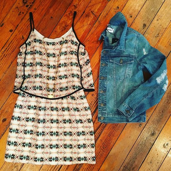 Forget about the snow! We are ready for the sun! ☀️ Shop today 10am-7pm. #tishstyle #sundress #nosnow #denimjacket #dl1961 #hiche #springfever #shoptish #stylist: