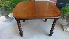 Antique English Tiger Oak Barley Twist Dining Kitchen Library Table
