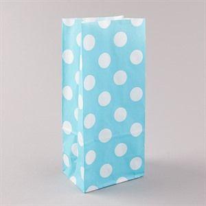 Blockbodenbeutel  Pick` n Mix weiß auf hellblau gepunktet