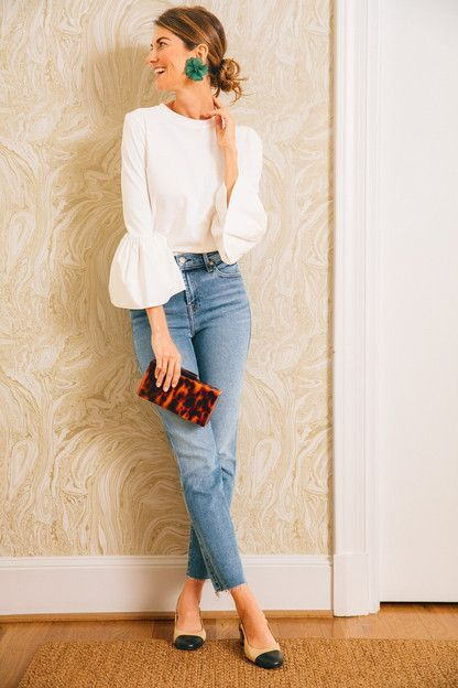 white bell sleeve top and jeans