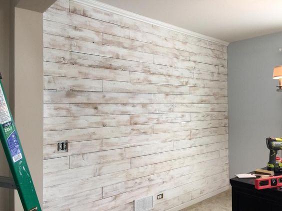 Dinning Room Wall Did Using Cedar Wood Fence Board Then