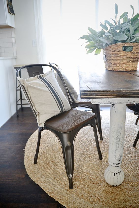 rustic metal and wood dining chairs sisal rugs metals and rustic