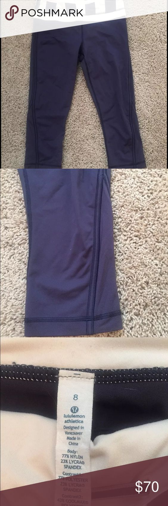 Lulu lemon cropped pant size 8 Size 8 Fantastic cropped workout pants. RN106259 CA 35801. Great to work out in or casual night out. Beautiful navy/plum color with ivory color block waist band. Worn once for 1 hour they were too big. lululemon athletica Pants Ankle & Cropped