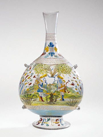 Italian, Venice, 1500 - 1520, Free-blown colorless glass with gold leaf, enamel, and applied decoration, 12 5/16 x 6 7/8 in.: