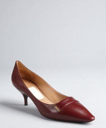 style #322253501 bordeaux leather pointed toe 'Tweeny' kitten heels