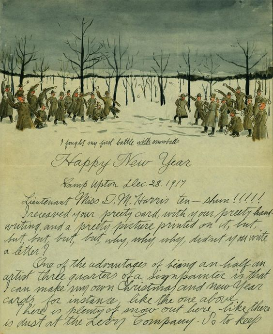 "Soldier Salvatore Cillis illustrates his letters home. ""In this New Year's letter from Camp Upton, in Long Island, Cillis describes the epic snowball fight that inspired his watercolored letterhead."" http://www.slate.com/blogs/the_vault/2012/12/27/salvatore_cillis_a_soldier_illustrated_a_new_year_s_letter_home.html"