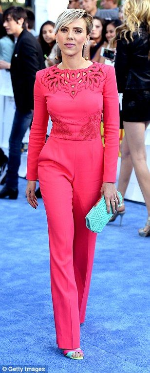 Mom-chic! Scarlett had on a sleek spring-ready palette that included coral, blue and yello...