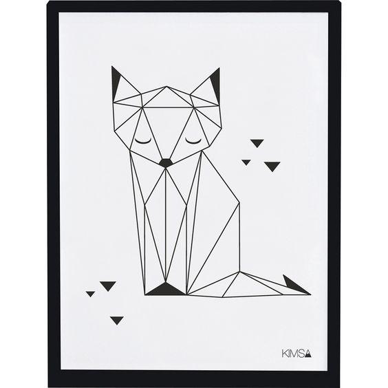 Affiche origami renard origami - Dessin renard ...