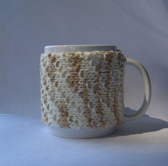 Knitted Mug Cozy  Tan and White Spiral by KatysKnitKnacks on Etsy, $6.50