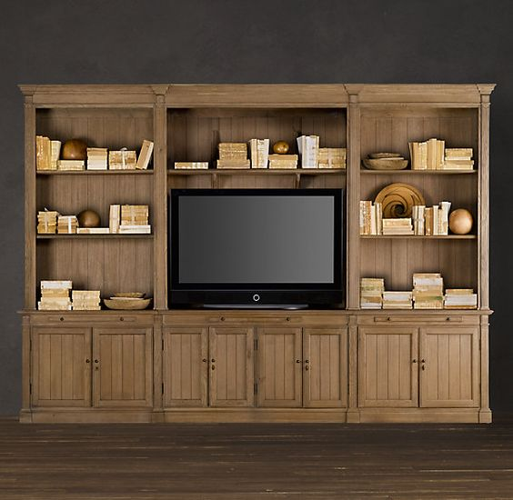 Maybe a built in similar to this for the tv home decor - Restoration hardware cabinets ...