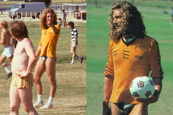 Yes, that is Robert Plant playing soccer in a speedo.